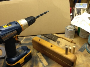 drill holes and place dowels